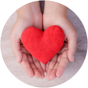 two hands hold a plush heart - donations